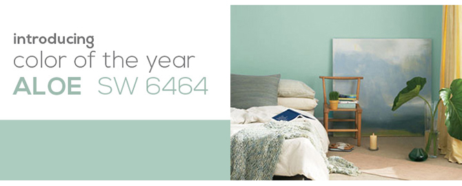 Sherwin williams color of the year aloe sw 6464 act two for Sherwin williams color of the month october 2017